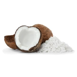 Heap of coconut flakes and fresh nut on white background